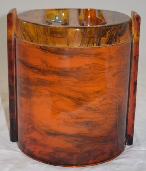 Art Deco Lucite Marbled Amber Ice Bucket w Tools