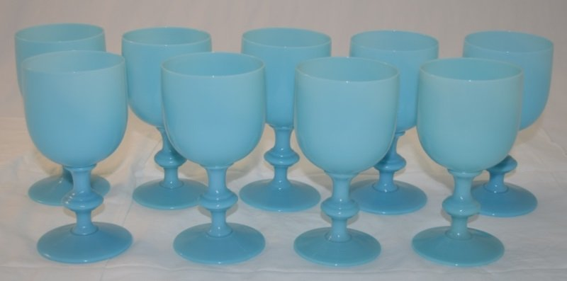 9 French Portieux Vallerysthal Blue Opaline Goblets