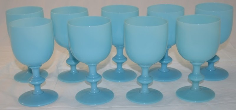9 French Portieux Vallerysthal Blue Opaline Goblets - 2