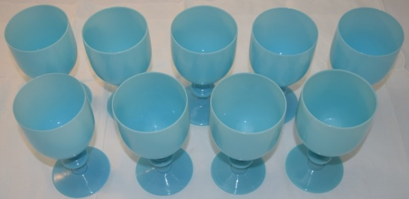 9 French Portieux Vallerysthal Blue Opaline Goblets - 3