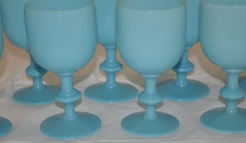 9 French Portieux Vallerysthal Blue Opaline Goblets - 4