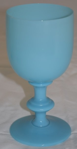 9 French Portieux Vallerysthal Blue Opaline Goblets - 5