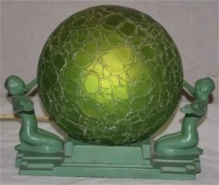 Art Deco Frank Art Lamp Nudes Crackle Glass Shade