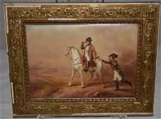 19C Limoges Plague Napoleon on Horse w Dispatch