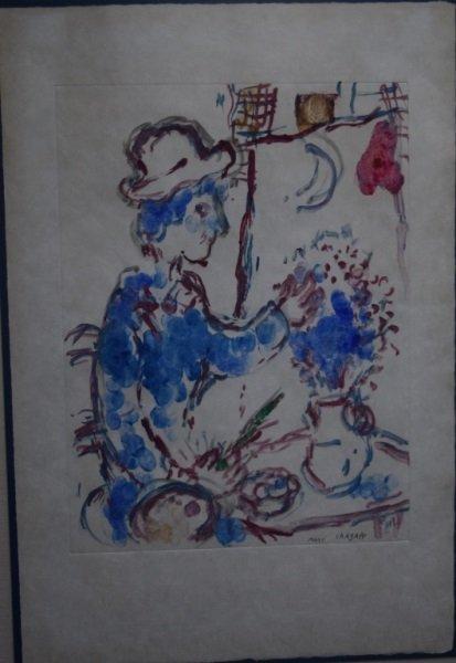 """Marc Chagall Monotype """"Le Peintre Au Boquet Bleu"""""""