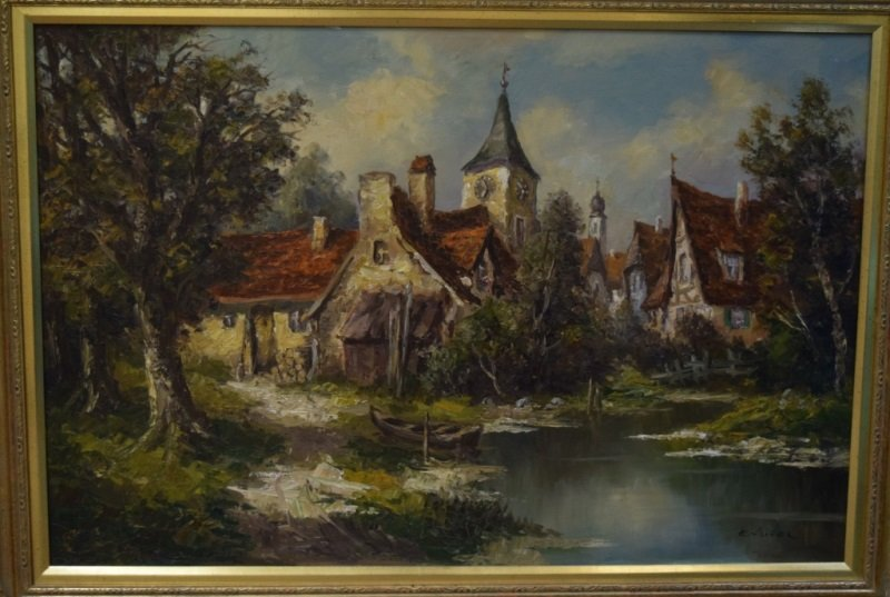 Ernst Jugel b1913 German Village & Stream Painting