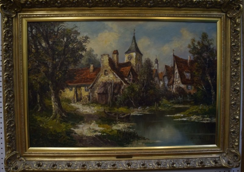 Ernst Jugel b1913 German Village & Stream Painting - 2