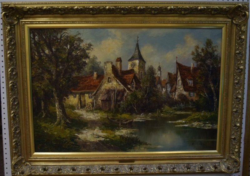 Ernst Jugel b1913 German Village & Stream Painting - 3