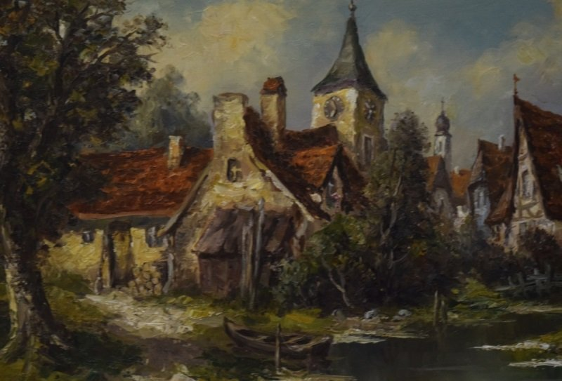 Ernst Jugel b1913 German Village & Stream Painting - 5