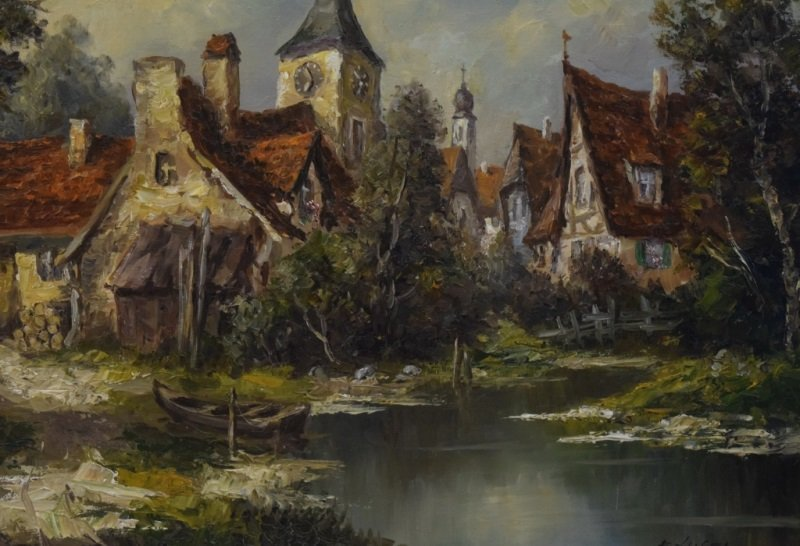Ernst Jugel b1913 German Village & Stream Painting - 6