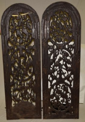 2 African King & Queen Wood Gates W Bronze Figures