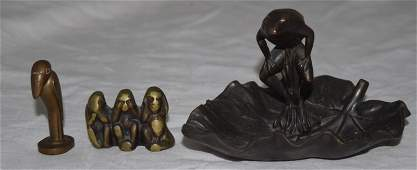 3pcs Bronze Frog in a Dish a Rook  3 Monkeys