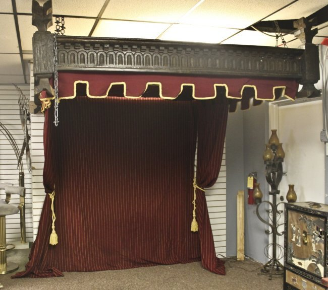 17thC English Oak Tester Bed Canopy with Drapes - 2