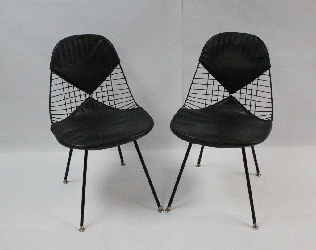 (2) Eames Herman Miller Black Wire Bikini Chairs