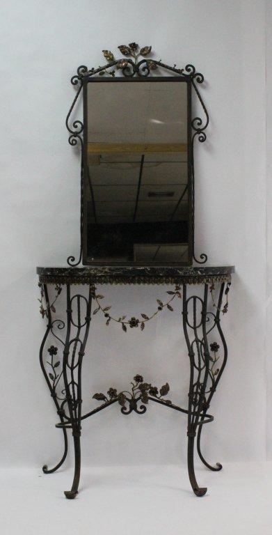 mizner wrought iron marble console table w mirror