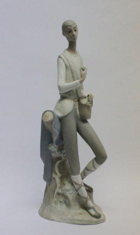 Large Bisque Lladro Figure Boy W/ Lunch Satchel