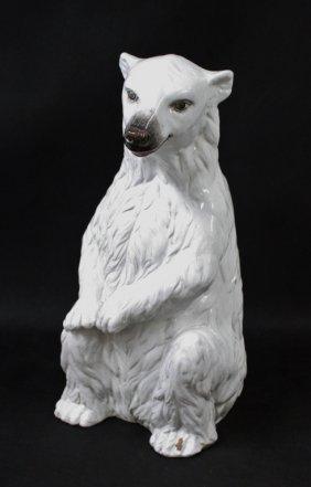 Large Italian Glazed Terracotta Polar Bear