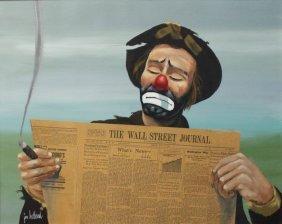 "Jon Helland (amer. 20th C) ""clown W/ Newspaper"""