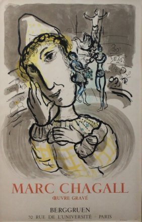 "Marc Chagall Litho ""the Circus With Yellow Clown"""