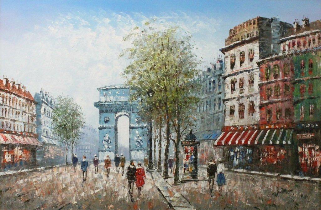 "Caroline Burnett Oil on Canvas ""Arc de Triomphe"""