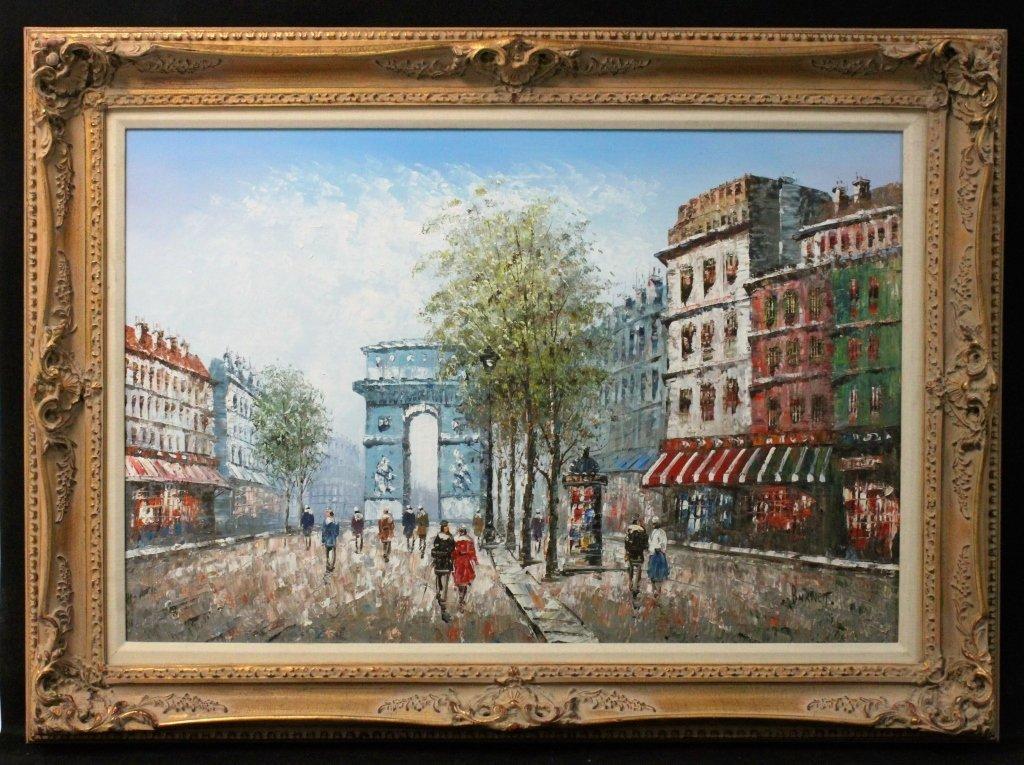 "Caroline Burnett Oil on Canvas ""Arc de Triomphe"" - 2"