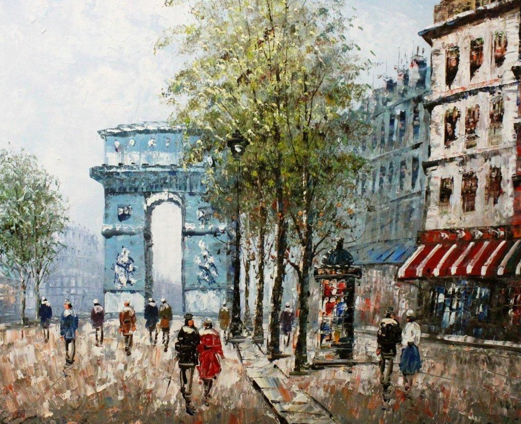 "Caroline Burnett Oil on Canvas ""Arc de Triomphe"" - 3"