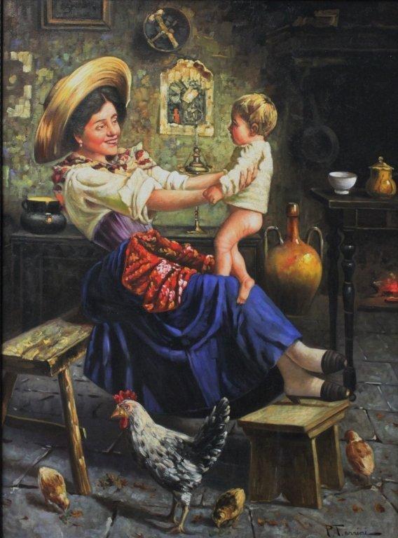 50s Rustico Italian School Painting Mother & Child