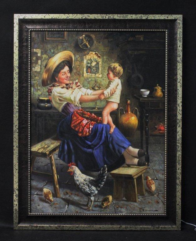 50s Rustico Italian School Painting Mother & Child - 2