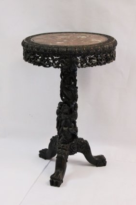 19th C. Chinese Carved Rosewood & Red Marble Table