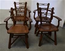 (4) Romweber Viking Oak Horse Head Arm Chairs 5-1681