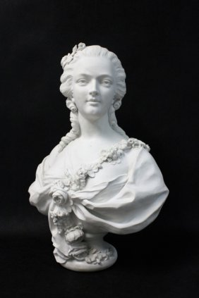 19th C French Bisque Bust Of Princess De Lamballe