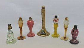 (7) French & Czech Art Glass Deco Perfume Bottles