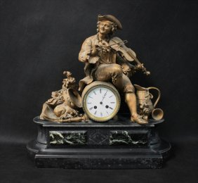 19th C French Slate & Marble Figural Mantel Clock