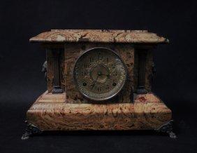 19th C. English Marbleized Wood Mantel Clock
