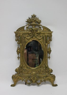 19th C. Victorian Brass Easel Frame Vanity Mirror