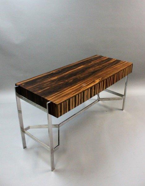 1980's Harvey Probber  Zebra Wood & Chrome Desk