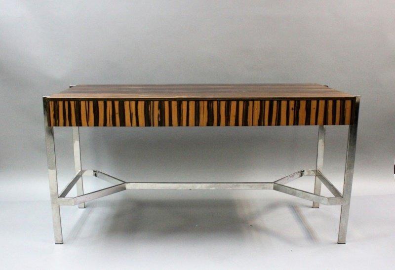 1980's Harvey Probber  Zebra Wood & Chrome Desk - 2