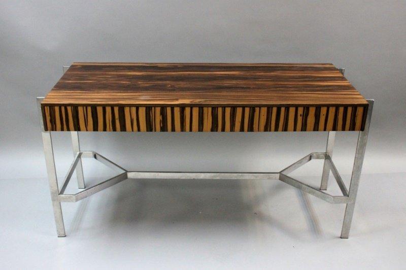 1980's Harvey Probber  Zebra Wood & Chrome Desk - 3
