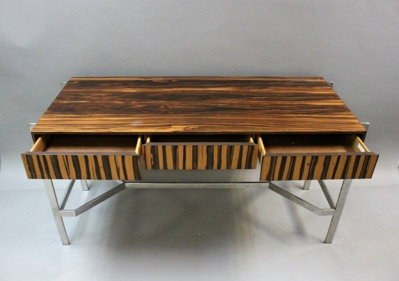 1980's Harvey Probber  Zebra Wood & Chrome Desk - 4