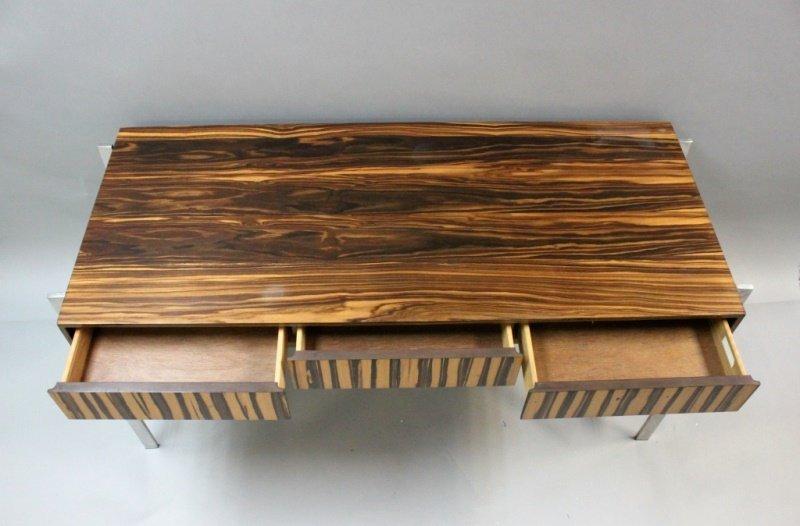 1980's Harvey Probber  Zebra Wood & Chrome Desk - 5