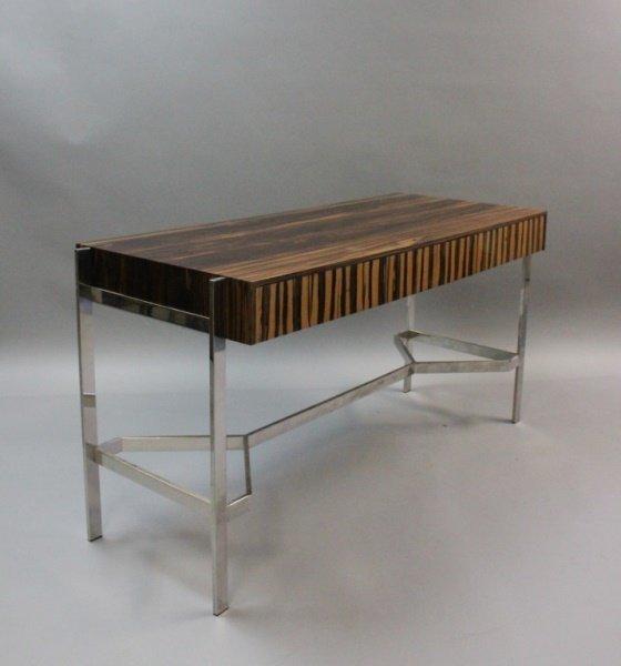 1980's Harvey Probber  Zebra Wood & Chrome Desk - 7