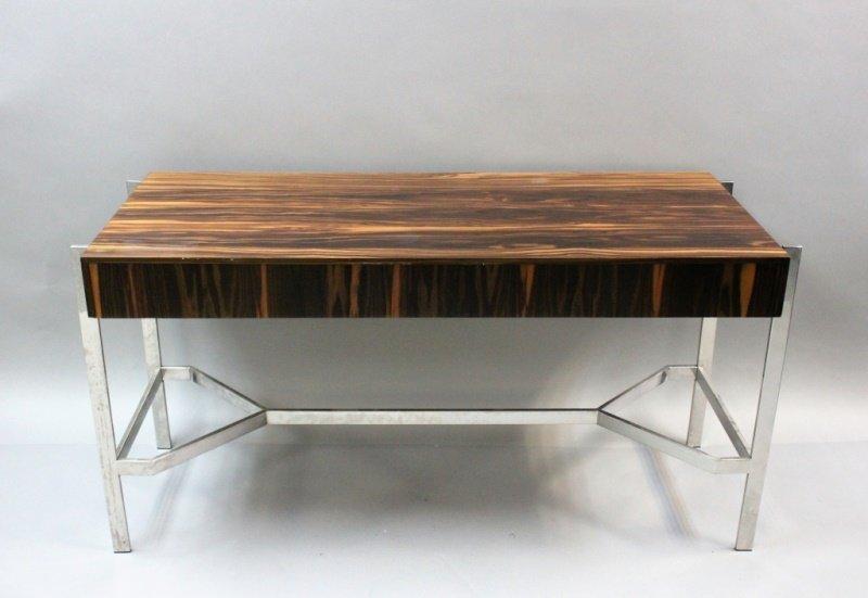 1980's Harvey Probber  Zebra Wood & Chrome Desk - 8