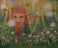 """Livingston Outsider Art, """"Flowers & the Beast"""" O/C"""
