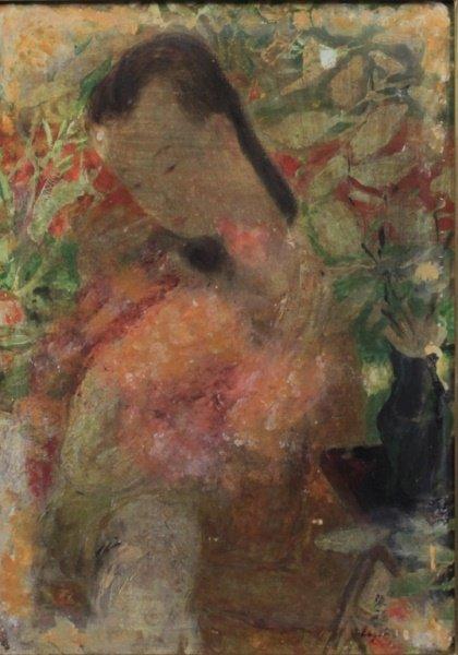 Le Pho(1907-2001)Oil on Board Tendresse Maternelle