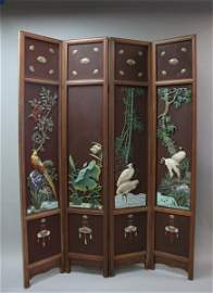 Qing Dynasty 4 Panel Cloisonne Mounted Room Screen