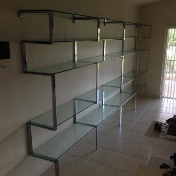 MCM Milo Baughman Chrome & Glass Wall Shelf Unit