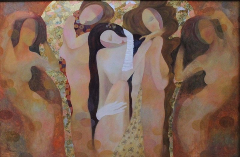 """AKE Abstract Modernist Painting Women """"Dancers"""""""