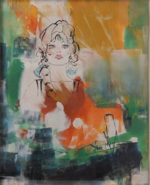 Vintage Pop Art Original Mixed Media Portrait