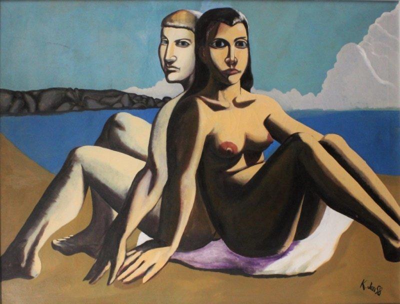 "Bernard ""Hap"" Kliban (American, 1935-90) Surrealist O/C"