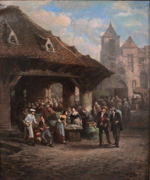 19th C Leonard Sauerfelt (French) Market Scene O/C